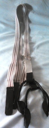 Maroon & White Stripe Braces Military or Dress